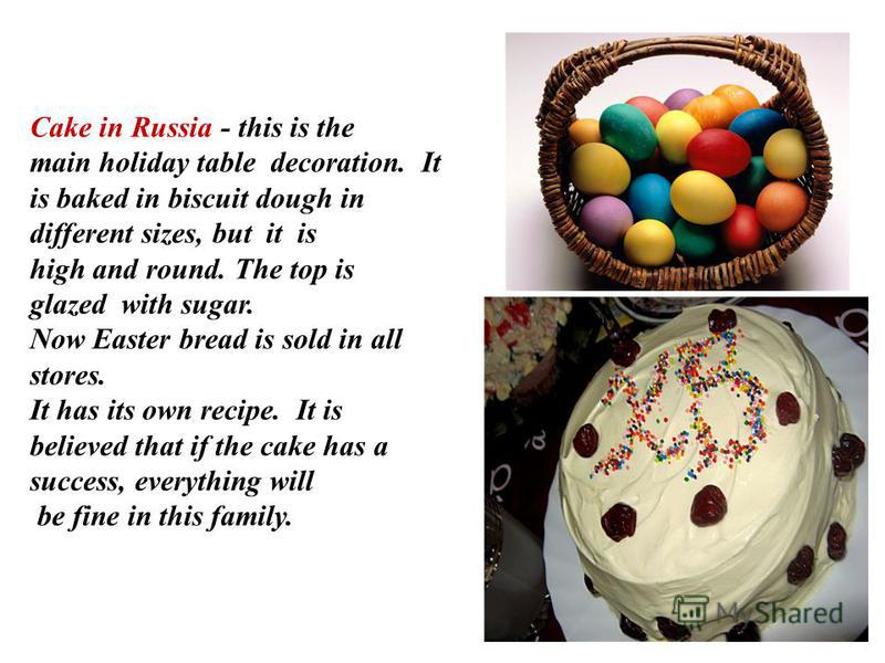 Cake in Russia - this is the main holiday table decoration. It is baked in biscuit dough in different sizes, but it is high and round. The top is glazed with sugar. Now Easter bread is sold in all stores. It has its own recipe. It is believed that if