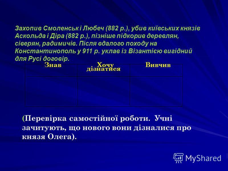 Захопив Смоленськ і Любеч (882 р.), убив київських князів Аскольда і Діра (882 р.), пізніше підкорив деревлян, сіверян, радимичів. Після вдалого походу на Константинополь у 911 р. уклав із Візантією вигідний для Русі договір. Знав Хочу дізнатися Ви