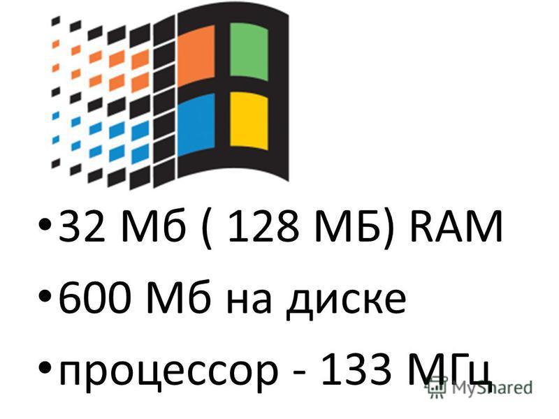 32 Мб ( 128 МБ) RАМ 600 Мб на диске процессор - 133 МГц