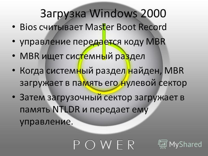Загрузка Windows 2000 Bios считывает Master Boot Record управление передается коду MBR MBR ищет системный раздел Когда системный раздел найден, MBR загружает в память его нулевой сектор Затем загрузочный сектор загружает в память NTLDR и передает ему