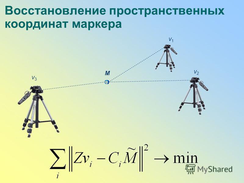 Восстановление пространственных координат маркера M v3v3 v2v2 v1v1