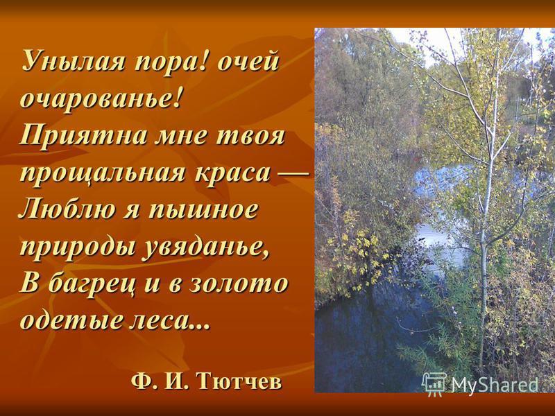 Унылая пора! очей очарованье! Приятна мне твоя прощальная краса Люблю я пышное природы увяданье, В багрец и в золото одетые леса... Ф. И. Тютчев