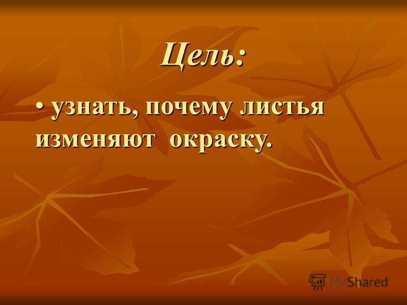 Цель: узнать, почему листья изменяют окраску. узнать, почему листья изменяют окраску.