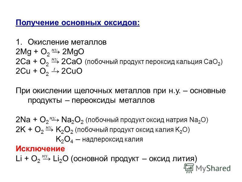 Получение основных оксидов: 1. Окисление металлов 2Mg + O 2 2MgO 2Ca + O 2 2CaO (побочный продукт пероксид кальция СаО 2 ) 2Cu + O 2 2CuO При окислении щелочных металлов при н.у. – основные продукты – пероксиды металлов 2Na + O 2 Na 2 O 2 (побочный п