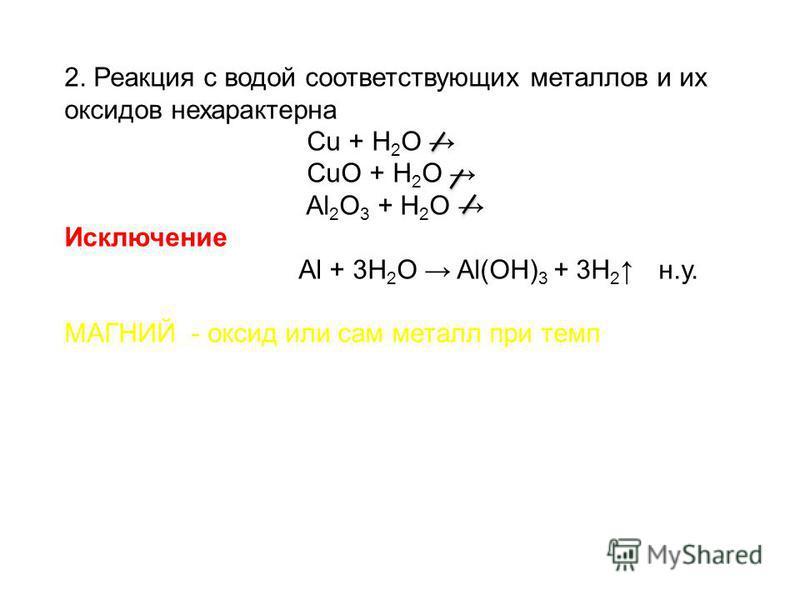 2. Реакция с водой соответствующих металлов и их оксидов нехарактерна Cu + H 2 O CuО + H 2 O Al 2 O 3 + H 2 O Исключение Al + 3H 2 O Al(OH) 3 + 3H 2 н.у. МАГНИЙ - оксид или сам металл при темп