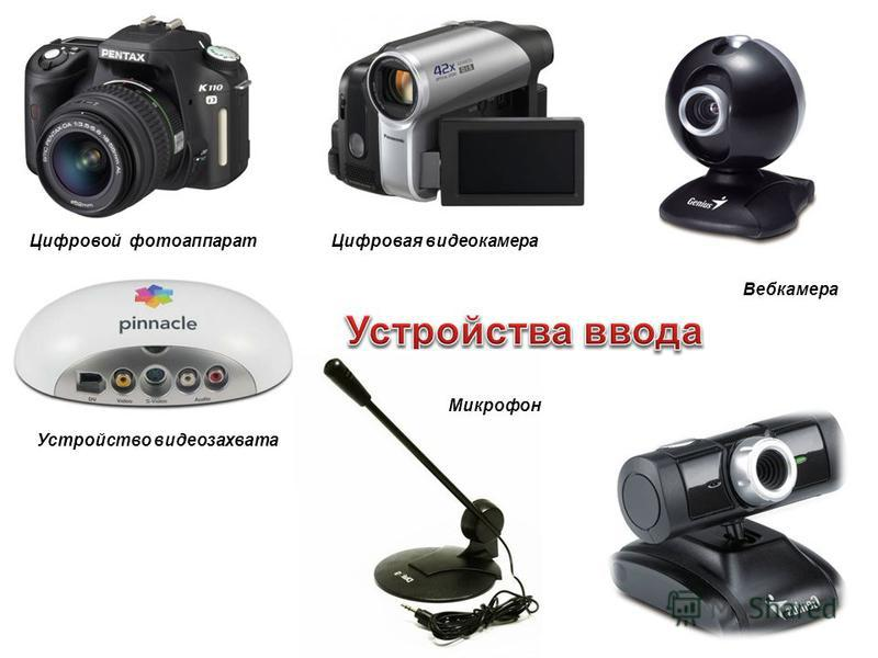 Цифровой фотоаппарат Цифровая видеокамера Вебкамера Устройство видеозахвата Микрофон