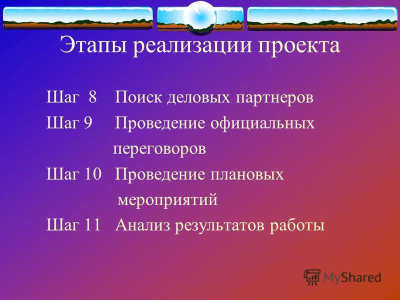 Этапы реализации проекта Шаг 8 Поиск деловых партнеров Шаг 9 Проведение официальных переговоров Шаг 10 Проведение плановых мероприятий Шаг 11 Анализ результатов работы