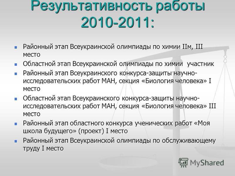 Результативность работы 2010-2011: Районный этап Всеукраинской олимпиады по химии ІІм, ІІІ место Районный этап Всеукраинской олимпиады по химии ІІм, ІІІ место Областной этап Всеукраинской олимпиады по химии участник Областной этап Всеукраинской олимп