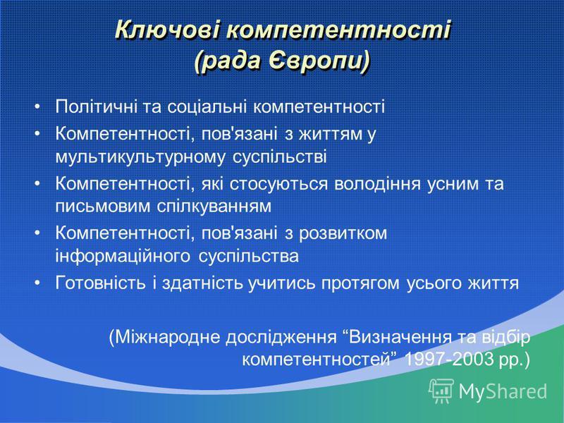 Ключові компетентності (рада Європи) Політичні та соціальні компетентності Компетентності, пов'язані з життям у мультикультурному суспільстві Компетентності, які стосуються володіння усним та письмовим спілкуванням Компетентності, пов'язані з розвитк