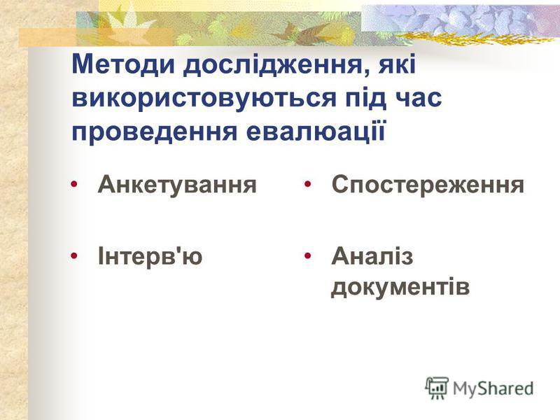 Методи дослідження, які використовуються під час проведення евалюації Анкетування Інтерв'ю Спостереження Аналіз документів