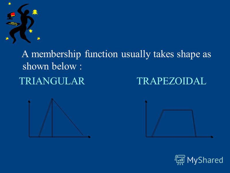 A membership function usually takes shape as shown below : TRIANGULAR TRAPEZOIDAL