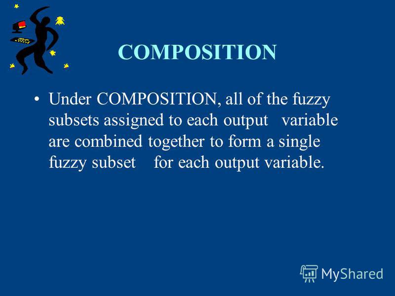 COMPOSITION Under COMPOSITION, all of the fuzzy subsets assigned to each output variable are combined together to form a single fuzzy subset for each output variable.