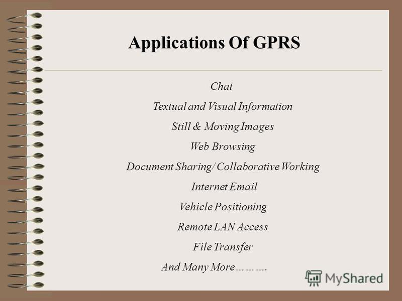 Chat Textual and Visual Information Still & Moving Images Web Browsing Document Sharing/ Collaborative Working Internet Email Vehicle Positioning Remote LAN Access File Transfer And Many More………. Applications Of GPRS