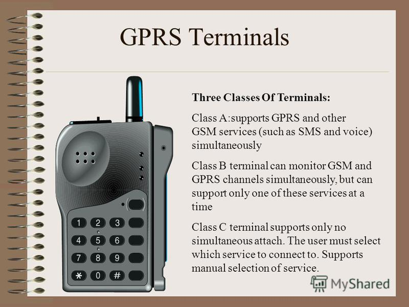 GPRS Terminals Three Classes Of Terminals: Class A:supports GPRS and other GSM services (such as SMS and voice) simultaneously Class B terminal can monitor GSM and GPRS channels simultaneously, but can support only one of these services at a time Cla