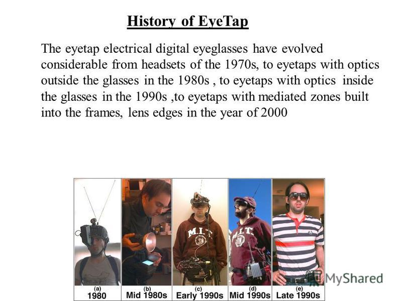 History of EyeTap The eyetap electrical digital eyeglasses have evolved considerable from headsets of the 1970s, to eyetaps with optics outside the glasses in the 1980s, to eyetaps with optics inside the glasses in the 1990s,to eyetaps with mediated