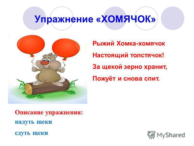 Упражнение «ХОМЯЧОК» Описание упражнения: надуть щеки сдуть щеки Рыжий Хомка-хомячок Настоящий толстячок! За щекой зерно хранит, Пожуёт и снова спит.