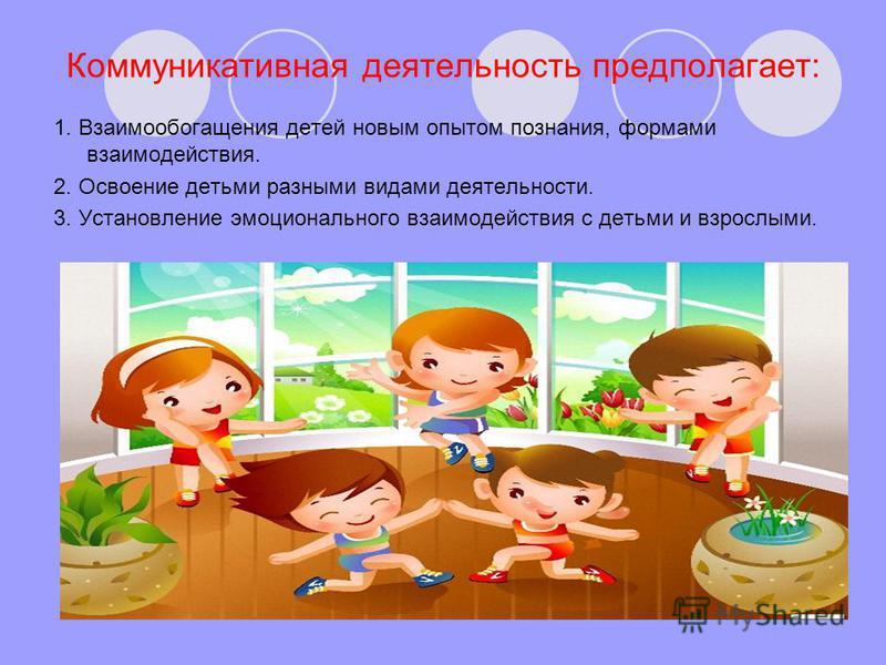 1. Взаимообогащения детей новым опытом познания, формами взаимодействия. 2. Освоение детьми разными видами деятельности. 3. Установление эмоционального взаимодействия с детьми и взрослыми. Коммуникативная деятельность предполагает: