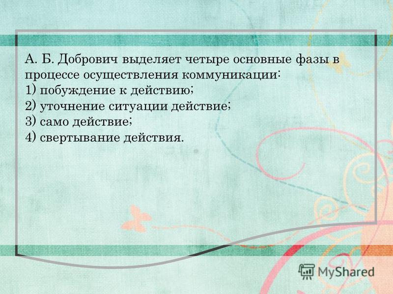 5 А. Б. Добрович выделяет четыре основные фазы в процессе осуществления коммуникации: 1) побуждение к действию; 2) уточнение ситуации действие; 3) само действие; 4) свертывание действия.