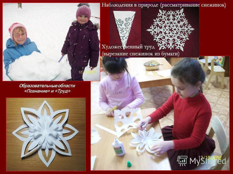 Наблюдения в природе (рассматривание снежинок) Художественный труд (вырезание снежинок из бумаги) Образовательные области «Познание» и «Труд»