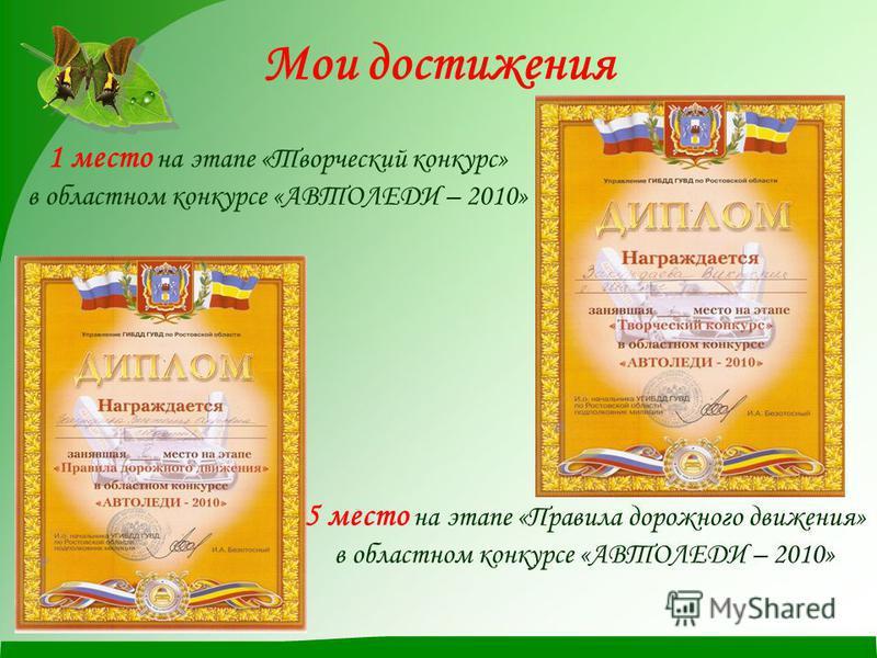 Мои достижения 1 место на этапе «Творческий конкурс» в областном конкурсе «АВТОЛЕДИ – 2010» 5 место на этапе «Правила дорожного движения» в областном конкурсе «АВТОЛЕДИ – 2010»