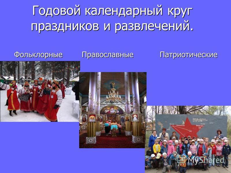 Годовой календарный круг праздников и развлечений. Фольклорные Православные Патриотические