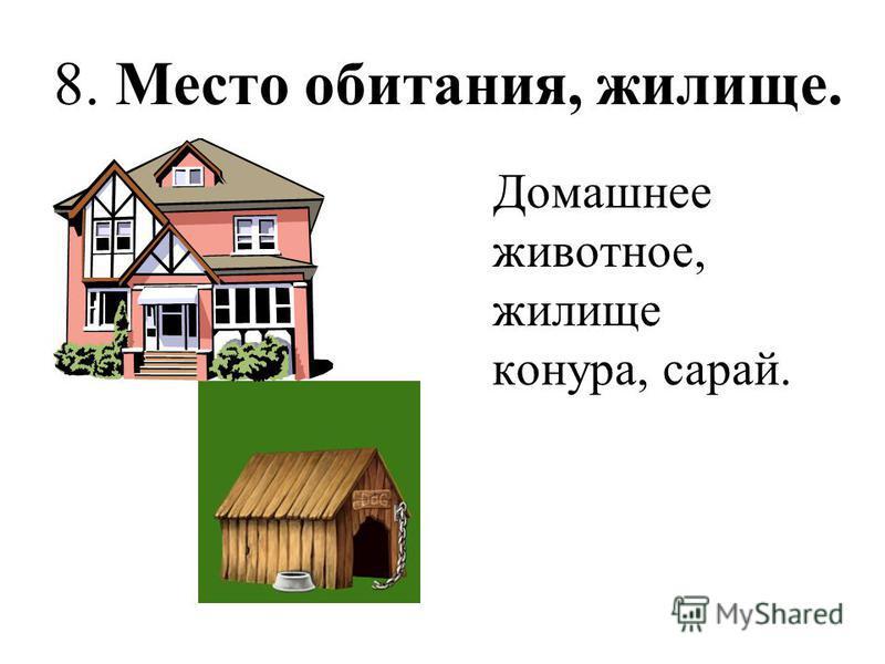 8. Место обитания, жилище. Домашнее животное, жилище конура, сарай.