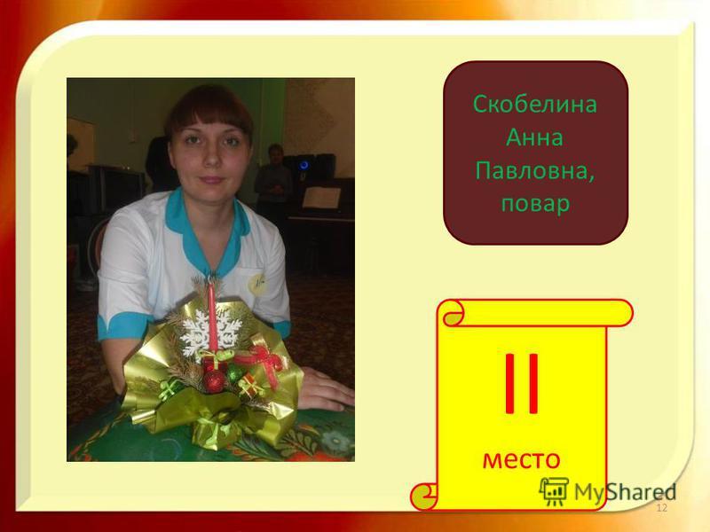 12 II место Скобелина Анна Павловна, повар