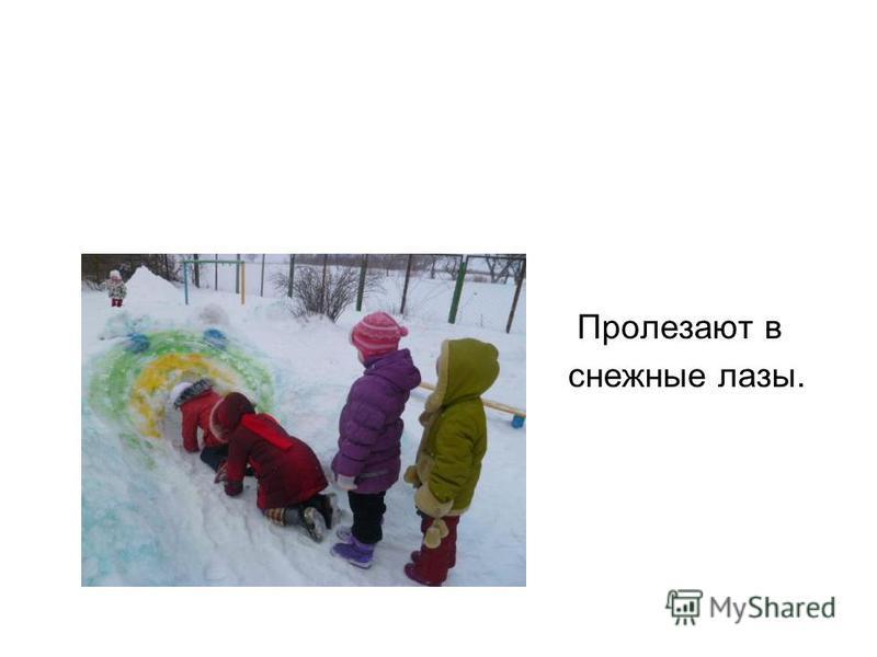 Пролезают в снежные лазы.