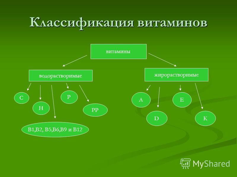 Классификация витаминов витамины водорастворимые жирорастворимые В1,В2, В5,В6,В9 и В12 С Н РР Р А DК Е