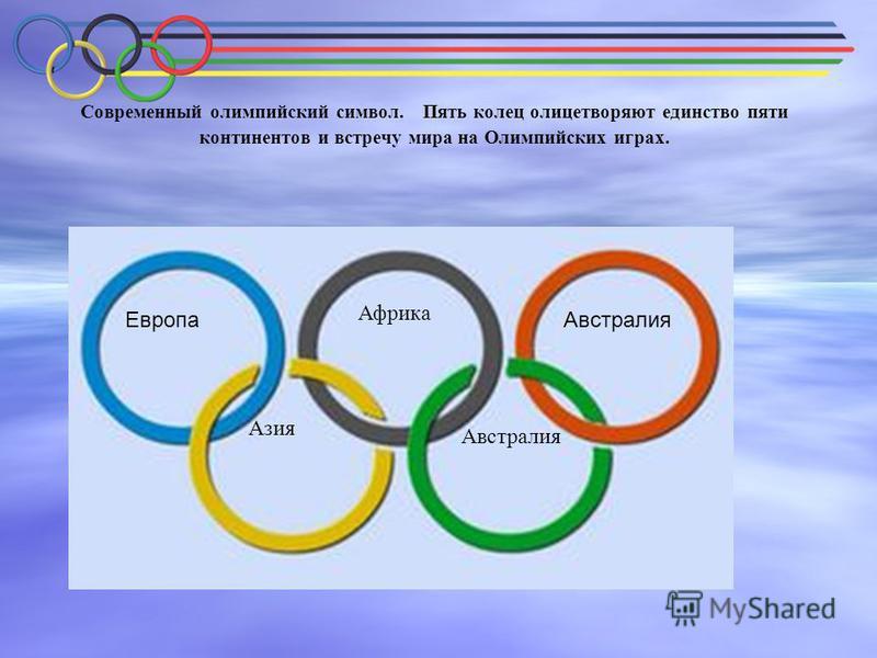 Современный олимпийский символ. Пять колец олицетворяют единство пяти континентов и встречу мира на Олимпийских играх. Европа Азия Африка Австралия Австралия