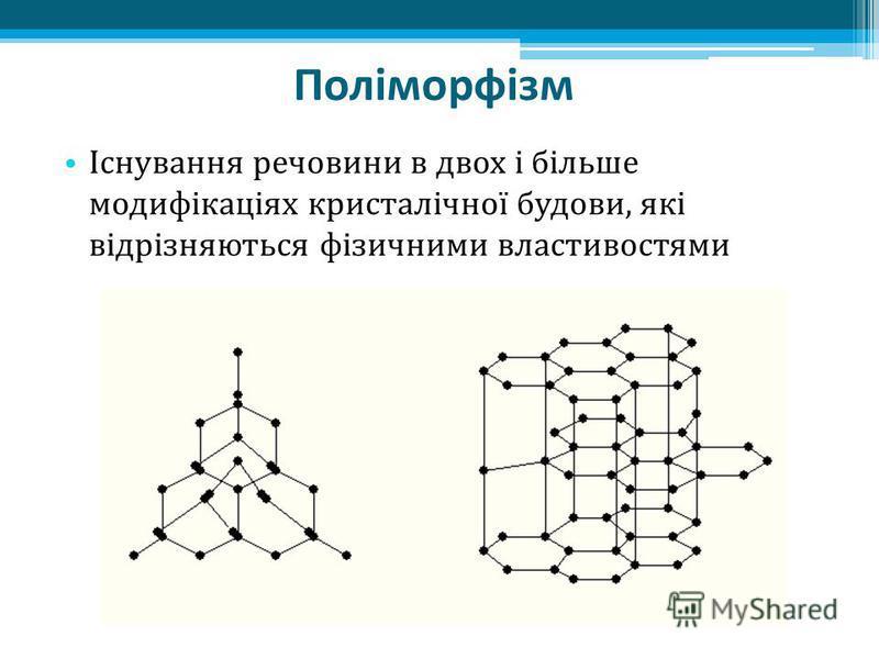 Поліморфізм Існування речовини в двох і більше модифікаціях кристалічної будови, які відрізняються фізичними властивостями
