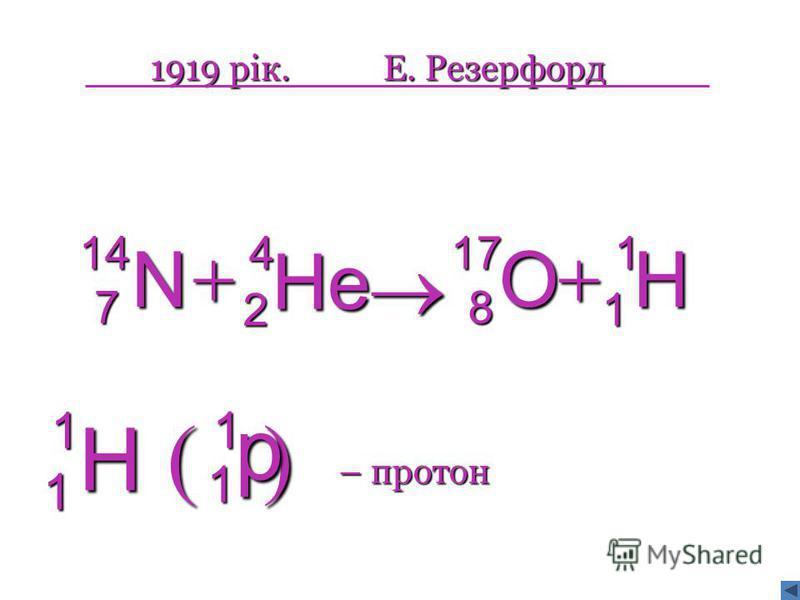1919 рік.Е. Резерфорд H 1 1 O178 He42 N147 p1 1 H11 – протон
