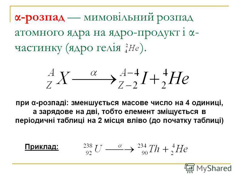 α-розпад мимовільний розпад атомного ядра на ядро-продукт і α- частинку (ядро гелія ). при α-розпаді: зменшується масове число на 4 одиниці, а зарядове на дві, тобто елемент зміщується в періодичні таблиці на 2 місця вліво (до початку таблиці) Прикла