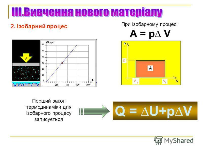2. Ізобарний процес При ізобарному процесі А = р V Q = U+pV Перший закон термодинаміки для ізобарного процесу записується