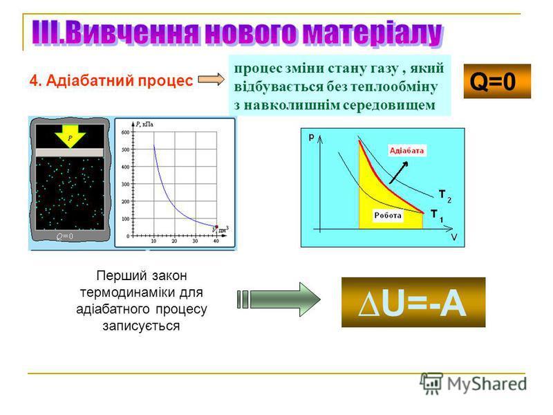 4. Адіабатний процес процес зміни стану газу, який відбувається без теплообміну з навколишнім середовищем Q=0 Перший закон термодинаміки для адіабатного процесу записується U=-A