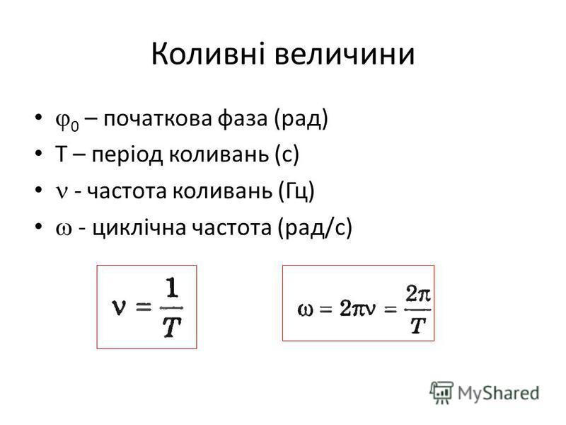 Коливні величини 0 – початкова фаза (рад) Т – період коливань (с) - частота коливань (Гц) - циклічна частота (рад/с)