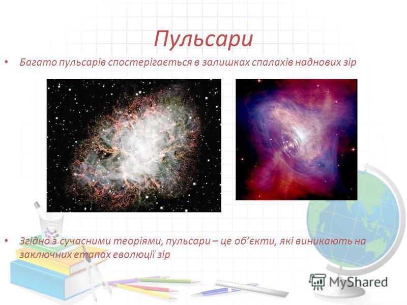 Пульсари Багато пульсарів спостерігається в залишках спалахів наднових зір Згідно з сучасними теоріями, пульсари – це обєкти, які виникають на заключних етапах еволюції зір