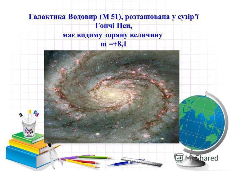 Галактика Водовир (М 51), розташована у сузір'ї Гончі Пси, має видиму зоряну величину m =+8,1