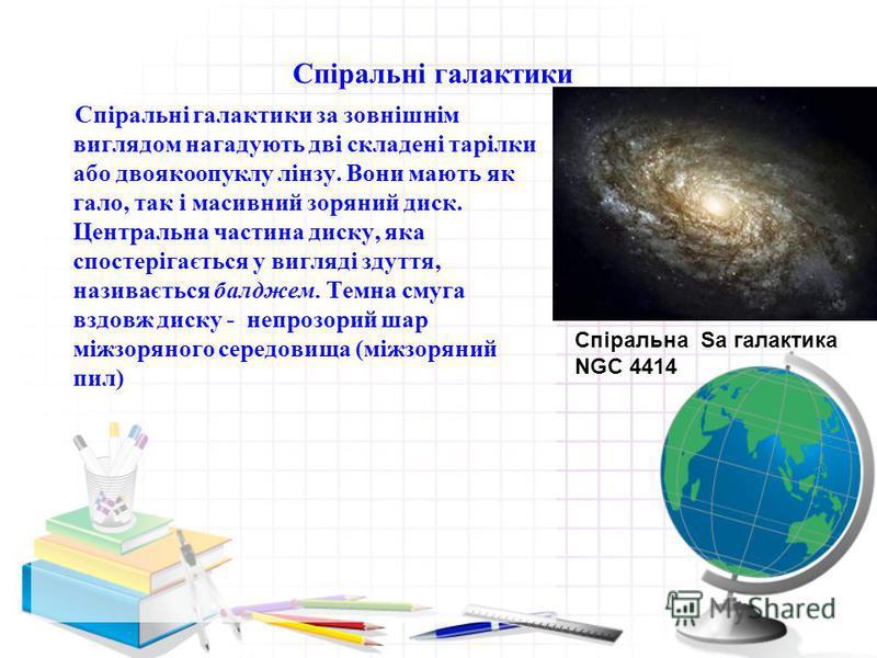 Спіральні галактики Спіральні галактики за зовнішнім виглядом нагадують дві складені тарілки або двоякоопуклу лінзу. Вони мають як гало, так і масивний зоряний диск. Центральна частина диску, яка спостерігається у вигляді здуття, називається балджем.