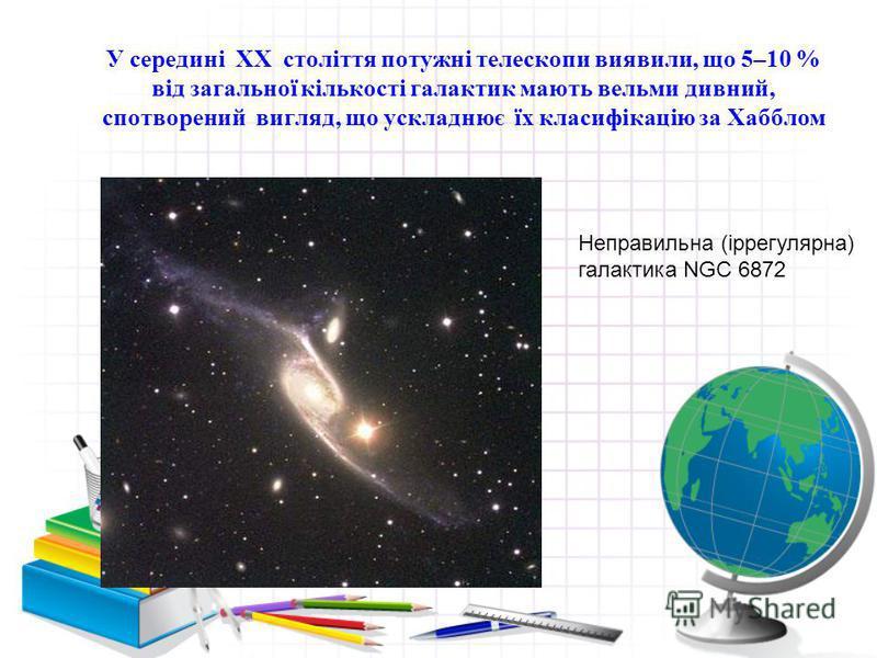 У середині XX століття потужні телескопи виявили, що 5–10 % від загальної кількості галактик мають вельми дивний, спотворений вигляд, що ускладнює їх класифікацію за Хабблом Неправильна (іррегулярна) галактика NGC 6872