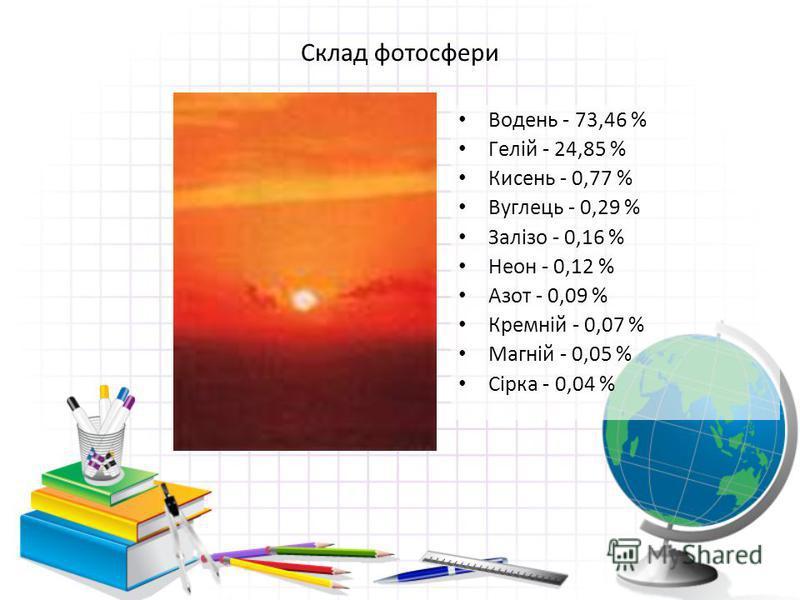 Склад фотосфери Водень - 73,46 % Гелій - 24,85 % Кисень - 0,77 % Вуглець - 0,29 % Залізо - 0,16 % Неон - 0,12 % Азот - 0,09 % Кремній - 0,07 % Магній - 0,05 % Сірка - 0,04 %