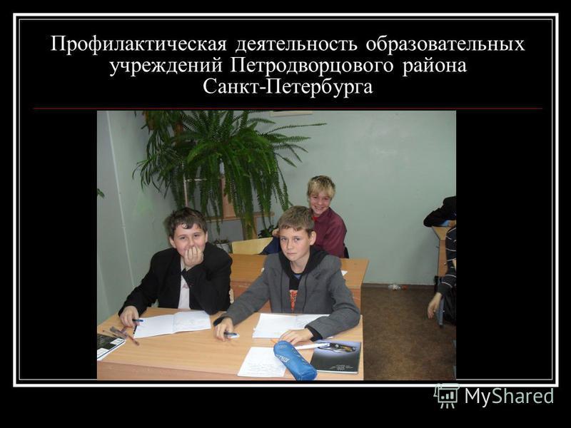 Профилактическая деятельность образовательных учреждений Петродворцового района Санкт-Петербурга