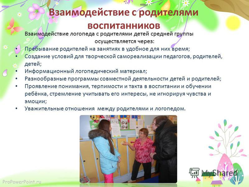 ProPowerPoint.ru Взаимодействие с родителями воспитанников Взаимодействие логопеда с родителями детей средней группы осуществляется через: Пребывание родителей на занятиях в удобное для них время; Создание условий для творческой самореализации педаго