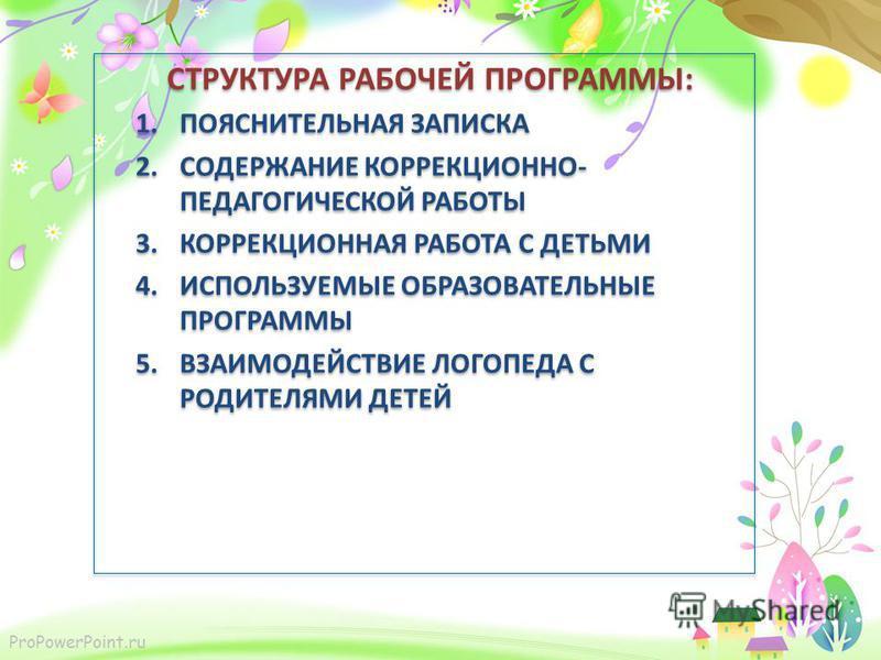 ProPowerPoint.ru СТРУКТУРА РАБОЧЕЙ ПРОГРАММЫ: 1. ПОЯСНИТЕЛЬНАЯ ЗАПИСКА 2. СОДЕРЖАНИЕ КОРРЕКЦИОННО- ПЕДАГОГИЧЕСКОЙ РАБОТЫ 3. КОРРЕКЦИОННАЯ РАБОТА С ДЕТЬМИ 4. ИСПОЛЬЗУЕМЫЕ ОБРАЗОВАТЕЛЬНЫЕ ПРОГРАММЫ 5. ВЗАИМОДЕЙСТВИЕ ЛОГОПЕДА С РОДИТЕЛЯМИ ДЕТЕЙ СТРУКТУР