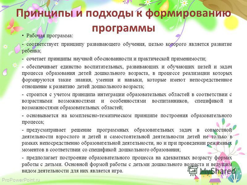 ProPowerPoint.ru Принципы и подходы к формированию программы Рабочая программа: -соответствует принципу развивающего обучения, целью которого является развитие ребенка; -сочетает принципы научной обоснованности и практической применимости; -обеспечив