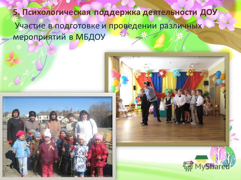 ProPowerPoint.ru 5. Психологическая поддержка деятельности ДОУ Участие в подготовке и проведении различных мероприятий в МБДОУ
