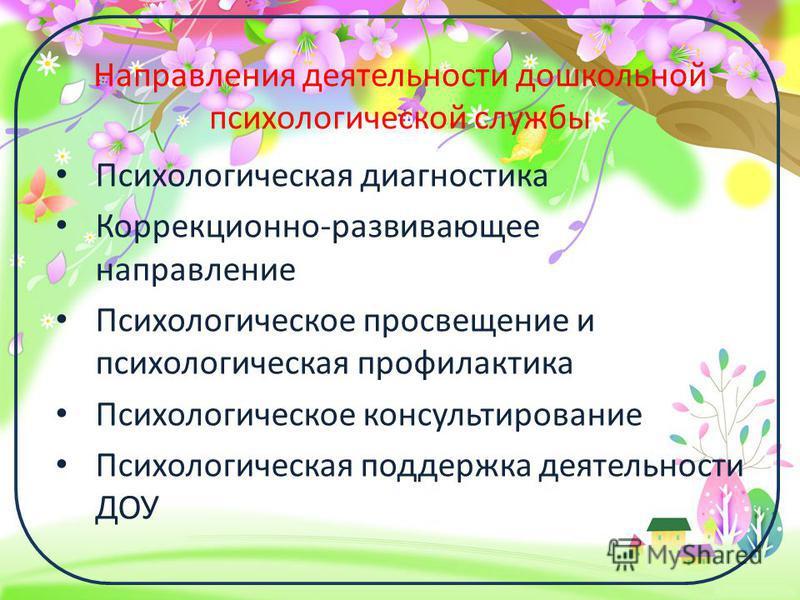 ProPowerPoint.ru Направления деятельности дошкольной психологической службы Психологическая диагностика Коррекционно-развивающее направление Психологическое просвещение и психологическая профилактика Психологическое консультирование Психологическая п