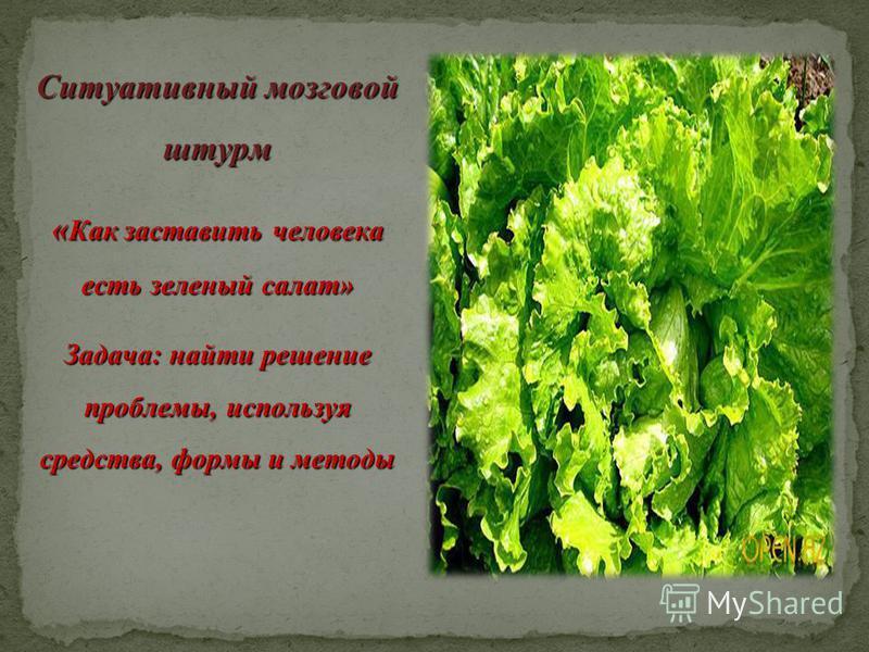 Ситуативный мозговой штурм « Как заставить человека есть зеленый салат» Задача: найти решение проблемы, используя средства, формы и методы