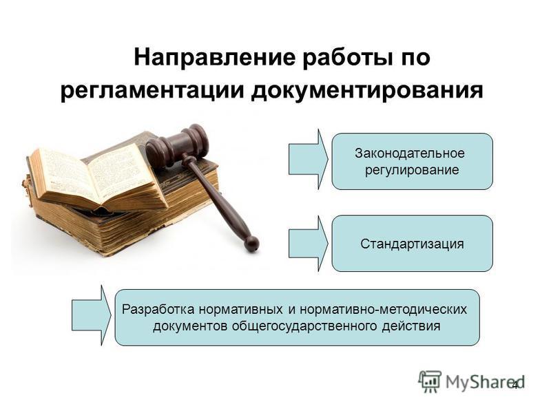 4 Направление работы по регламентации документирования Законодательное регулирование Стандартизация Разработка нормативных и нормативно-методических документов общегосударственного действия