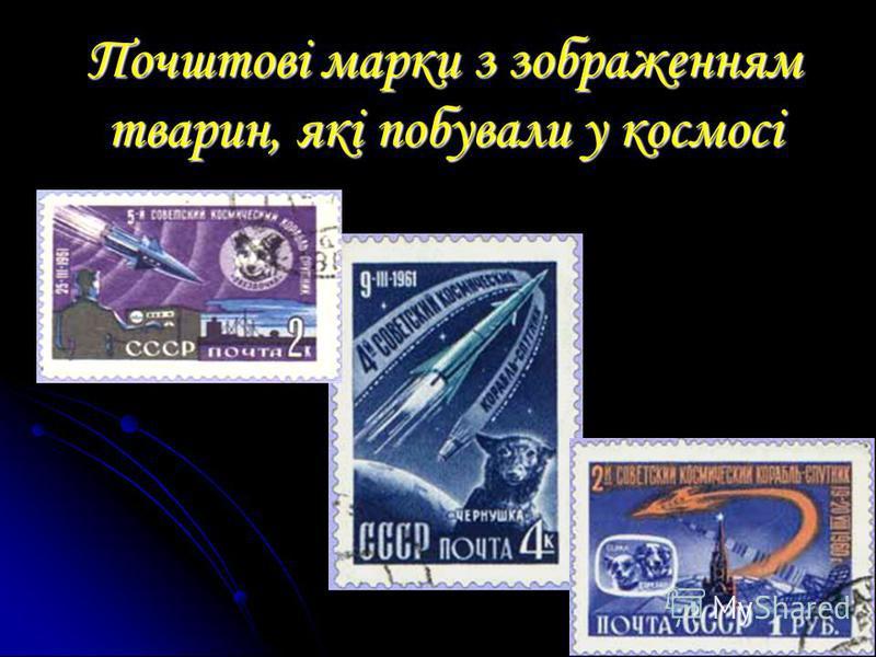 Почштові марки з зображенням тварин, які побували у космосі